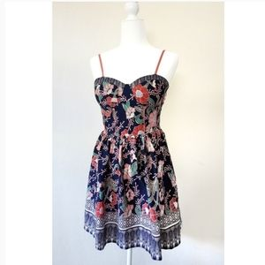 Band of Gypsies Navy Coral Floral Padded Dress M